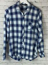 DYLAN JAMES Womens' Blue Plaid Long Sleeve Shirt Size Large