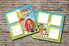 Farm Friends Girl Boy Animals 2 PRINTED Premade Scrapbook Pages BLJgraves 20