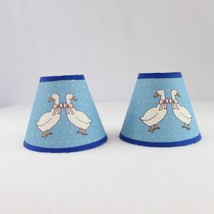 "Vintage 2 Mini Lamp Shades Set Blue White Geese Clip On Polka Dot 4"" Tall Pair"