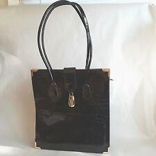 Vintage Vivace Black Alligator Leather Handbag PURSE Gold Metal Corners KOREAN