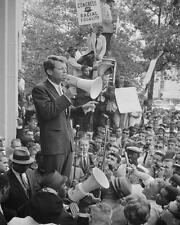 ROBERT KENNEDY SPEAKS TO CIVIL RIGHTS CROWD 8X10 PHOTO