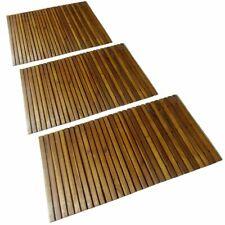 New Listing3x Wood Shower Bath Mat Toilet Rugs Bathroom Set Non Slip Mats Outdoor Indoor