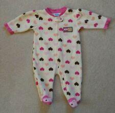 0-3M Baby GIRLS Bon Bebe Brown Pink Cute Love Bug Butterfly Fleece Sleeper PJ