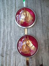 Bridle Rosettes Horse Head pair red background glass face new