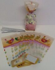 12 X Cello TREAT LOOT BAGS  with Ties Festive SPRING EASTER  Festive Cakes PARTY