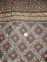 """Vintage Cotton Fabric RED,BLUE,WHT,YELLOW FLORAL/BLACK w/ BORDER 1 Yd/44"""" Wide"""