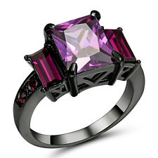 Size 9 Purple Amethyst CZ Crystal Women's 10Kt Black Gold Filled Wedding Ring