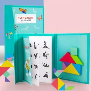 Magnetic 3D Wooden Colourful Jigsaw Tangram Puzzle Game Kids 7 Pieces 96 Designs