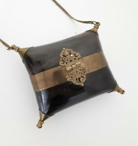 Vintage hard shell clutch bag 12cm x 12cm With 90cm Chain