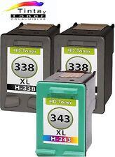 3 cartuchos Tinta para HP 338+343 XL set Deskjet 460 5740 6540 6830 6840 9800