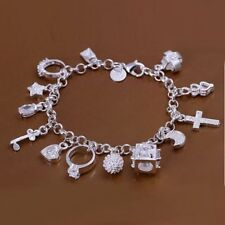 Hot 925Sterling Solid Silver Jewelry Crystal 13 Charms Bracelet For Women H144