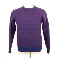 VINTAGE GAP Men's S - 100% Wool Blue & Red Knit Crew Neck Sweater - WARM & THICK