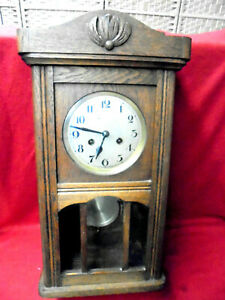 Large 1900 Eight Day German Striking Wall Clock With Beveled Glass
