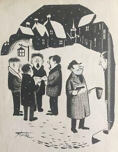 Leslie Starke ORIGINAL Christmas cartoon New Yorker artist  PROVENANCE
