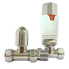 Straight 15mm TRV White Thermostatic Radiator Valve & Lockshield
