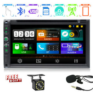 """Double 2Din In Dash Sony CD Lens 7""""Car Stereo Radio DVD Player AUX BT TF MP3 Mic"""