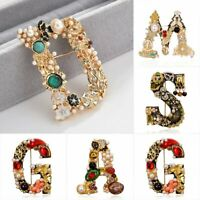 Fashion Pearl Crystal Plant Flower Letter Brooch Pin Women Wedding Bride Jewelry
