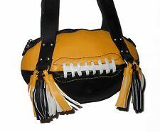 NEW r25 Black/Yellow Gold FOOTBALL PURSE Shoulder Bag NFL Saints Steelers Iowa