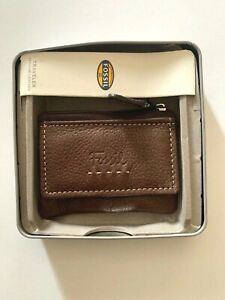Fossil traveler genuine leather zipper keychain wallet