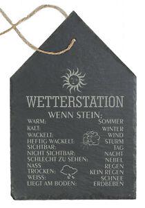 Schiefertafel Wetterstation Wetterstein Gartendekoration Wetterschild Mod.- Haus