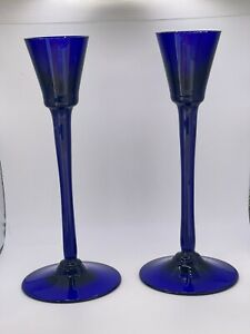 Pair of Vintage Bristol Blue glass Candle Holders  FREE UK P&P