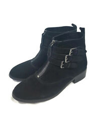 BLUE ILLUSION Ankle Boots - Genuine Suede Black Zip Strap Buckle Biker Boho 40/9