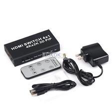 4 Port 4x1 HDMI Switch Box 4K 3D 1080P PIP Switcher Selector w/IR Remote Control