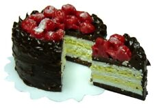 Dollhouse Miniature - Chocolate Frosted Cream Cake w/Cherries (sliced) 1:12