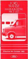 Ford Transit Mk2 Prices & Options 1982-83 UK Market Brochure Van Kombi Bus
