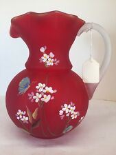 Fenton Art Glass Hand painted Ruby Red Satin Pitcher