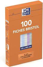 Oxford 100104817 Etui de 100 Fiches Bristol colorées petits carreaux non...