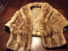 EMBA Pastel MINK Fur Stole ~ Brown Autumn Haze Cape Wrap Shawl Coat Jacket