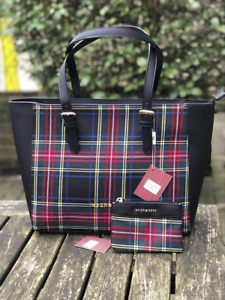 Inverness New Ladies Tartan Check Plaid Large Tote Bag with matching Coin Purse