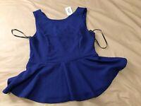 NWT Forever Twenty-1 Women Large Royal Blue Knit Sleeveless Peplum Zip Back Top