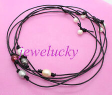 Lots 5pcs real mix color pearl black leather pendant necklace 17 inches no metal