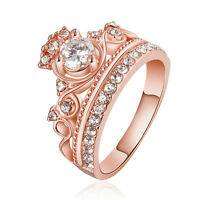 New Fashion Women 18K Rose Gold GP Band Crystal Zircon Ring Queen Crown US Sz 8