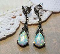 My S Collection 925 Sterling Silver & Marcasite Opal Teardrop Earrings