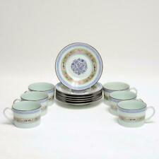 GROUP OF (6) PUIFORCAT LIMOGES FRANCE KAN SOU CELADON FLAT CUP & SAUCER