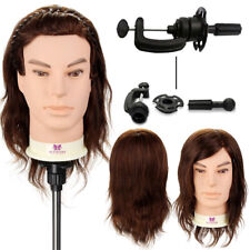 Doll Head 100 Real Hair Beard Hairdressing Training Male Mannequin Wi Th Clamp