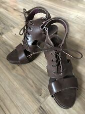 Neosens Brown Strappy Leather With  Raved Wooden Heels EUR Size 39 US Size 8.5