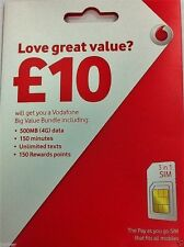 Vodafone UK Pay As You Go PAYG - Includes Standard Micro & Nano Triple SIM Card