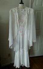 VICTORIA'S SECRET Bridal Robe & Gown Ivory Satin & Nylon Lace/ Pearls Sz M