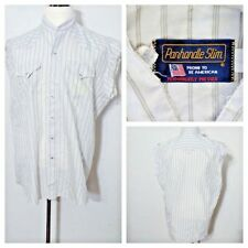 Redneck Trucker Grunge Shirt Men's Lg Panhandle Slim White Pearl Snap inv#S8096