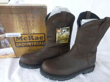 """NWT McRae Industrial Brown Leather 11"""" Wellington Pull On Boots Men 11W MR85134"""