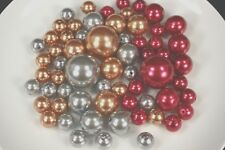CHRISTMAS Set 63 Elegant Vase Fillers Assorted Pearls Beads Table Decor 3 colors