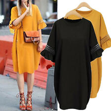 Women Short Flare Bell Sleeve Hollow Out Patchwork Loose Casual Long Dress Tops