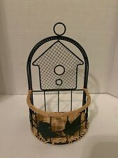 Metal & Wicker Basket Ivy Leaf Green Wall Hanging Cottage Franciscan