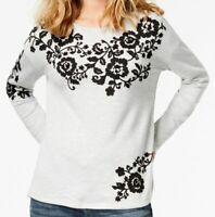 $160 Inc Concepts Womens Gray Black Crew Neck Embroidered Sweatshirt Top Size XS