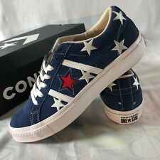 Converse One Star Low Mens Size 10.5 Academy OX Embroidered Stars Navy Shoes NIB