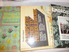 Lot of 3 Sewing Books - Embroidery Needlework Cross Stitch